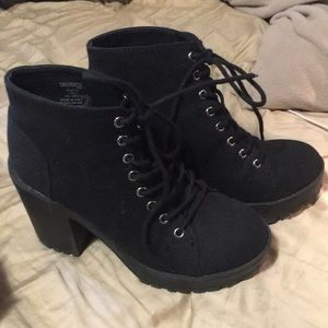 H&M black woven lace up heeled ankle boots